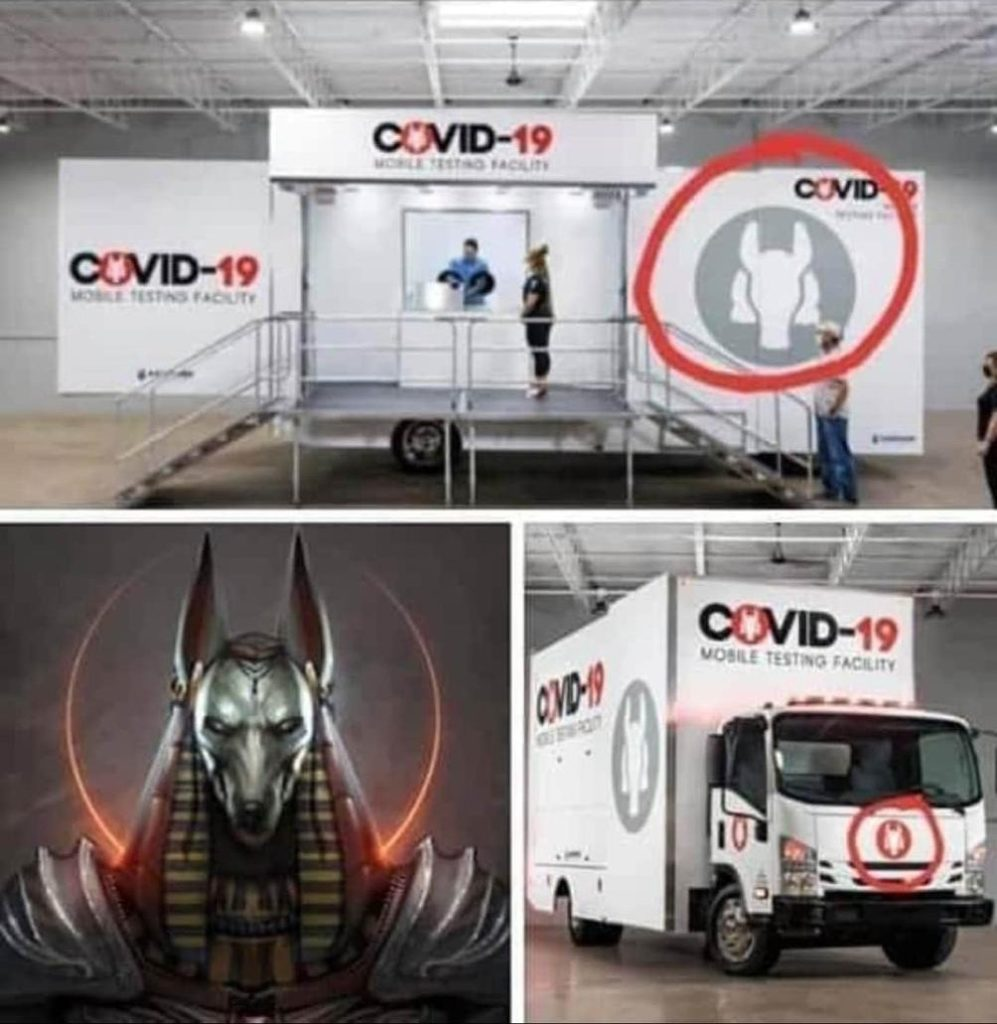 Why would they use 'the god of death', Anubis to recognize and identify the COVID-19 testing facility? A facility that's suppose to offer life's logo is death? A little contradictive I'd say.