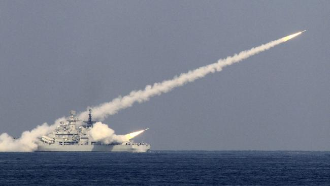 Guided missiles launched from Chinese destroyer