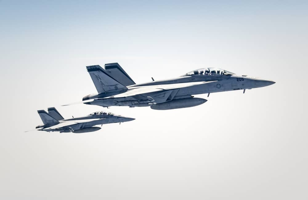 Two U.S. Navy F/A-18F Super Hornets assigned to Carrier Air Wing 17, deployed aboard the aircraft carrier USS Nimitz (CVN 68), fly over the U.S. Central Command area of responsibility Sept. 23, 2020.
