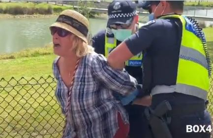HORRIFIC VIDEO: Screaming Grandmother Manhandled by 8 Cops, Cuffed and Hauled Off for Not Wearing Mask at Anti-Lockdown Protest in Public Park