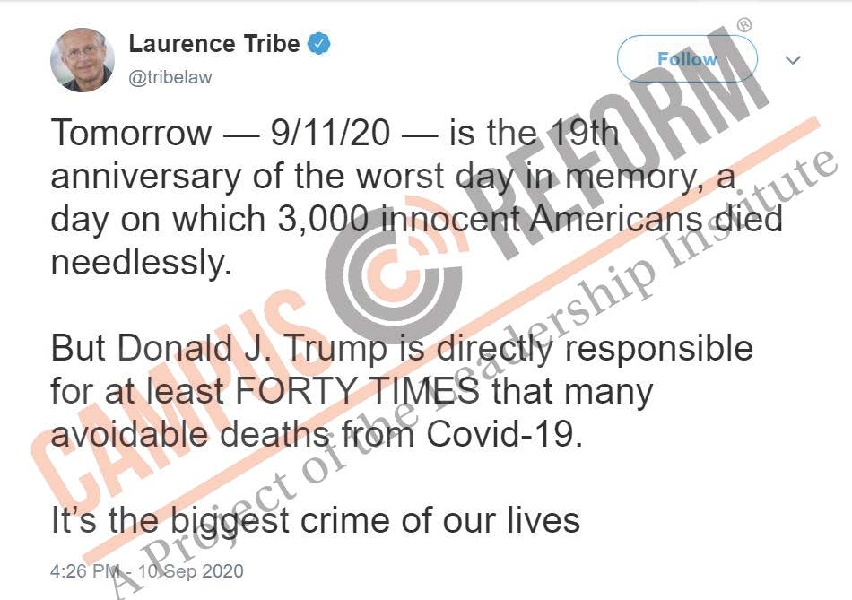 Harvard prof uses 9/11 to blame Trump for COVID deaths