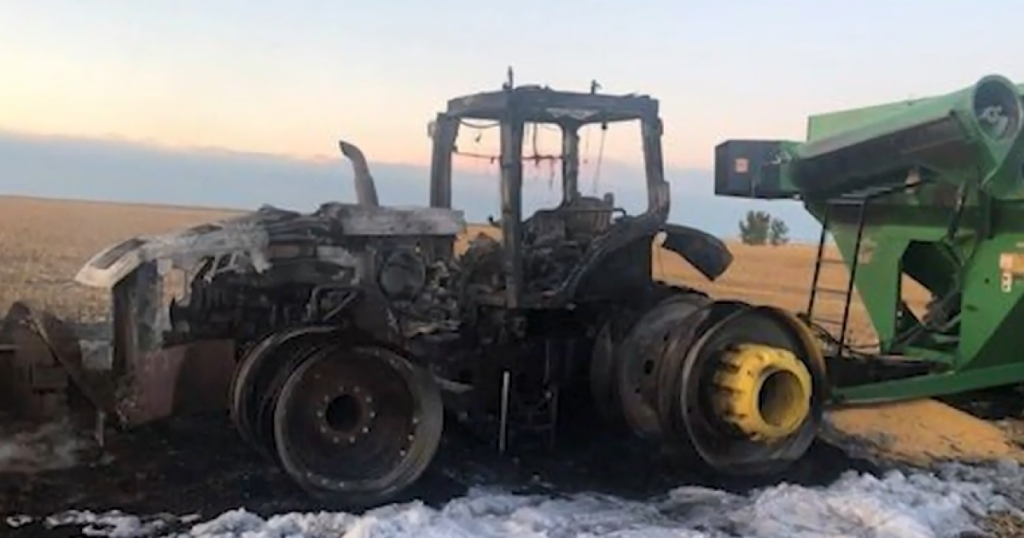Trump-Supporting Farmer's Two Semis, Tractor, and Combine Burnt to a Crisp