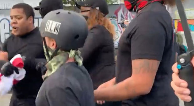 BLM Protesters Assault Black Veteran, Steal American Flag - WATCH