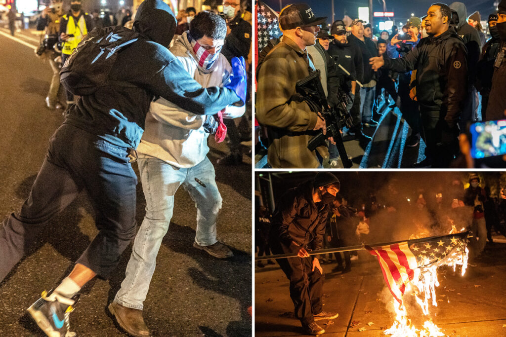 ELECTION NIGHT PREVIEW? Cops declare riot in Portland as Antifa and BLM protesters smash shop windows after march 'against capitalism'