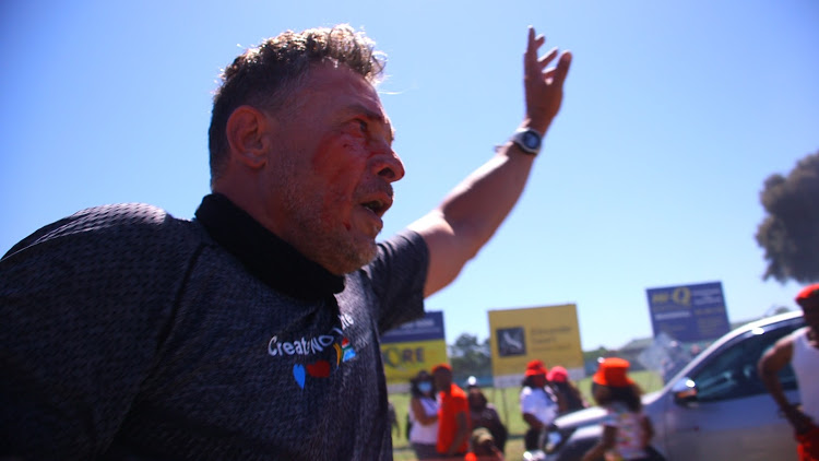 SOUTH AFRICA - WATCH | Chaos at EFF's Brackenfell protest as white man in lycra intervenes