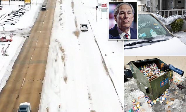 Texas side of Stateline Road is covered in snow while Arkansas boasts a plowed strip as Lone Star State is hit by ANOTHER storm, 3.4M are still without power and 33 die across the South amid freezing weather