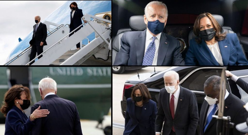 People are Noticing Something Odd About Kamala Harris & Biden Photos Showing Them Traveling Together