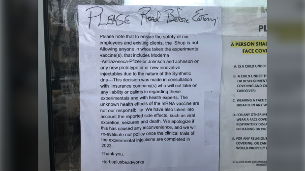 Windsor, Ont., store posts sign barring those who received the COVID-19 vaccine from shopping inside
