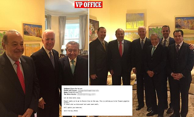 Joe Biden entertained Hunter's Mexican billionaire business associates in the vice president's office in 2014 and even flew with his son to Mexico City on Air Force 2 so Hunter could attend meetings over a 'flippin gigantic' deal