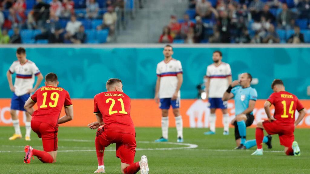 Belgium team take knee, Russians stand before Euro 2020 opener