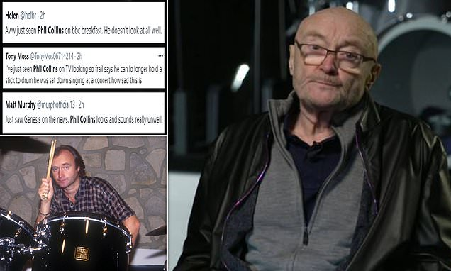 'I can barely hold a drumstick': Phil Collins, 70, sparks concern among fans as he details his declining health during 'frail and unwell-looking' BBC Breakfast appearance - a week after daughter Lily's wedding
