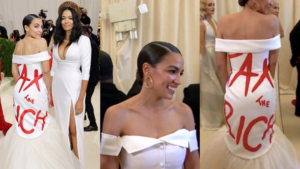 Socialist AOC Wears 'Tax The Rich' Dress to Met Gala Where Tickets Are $30,000 a Pop . . .