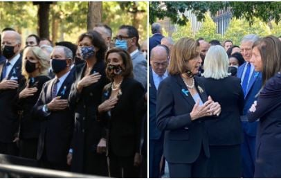 Nancy Pelosi and the DC Elites Mask Up for the Official Photos at Ground Zero — Then Drop the Mask When They Think the Cameras are Off